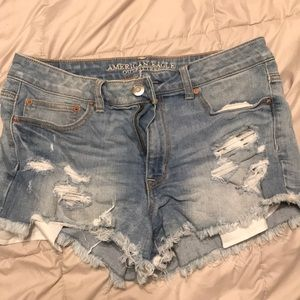 American eagle light wash high waisted shorts
